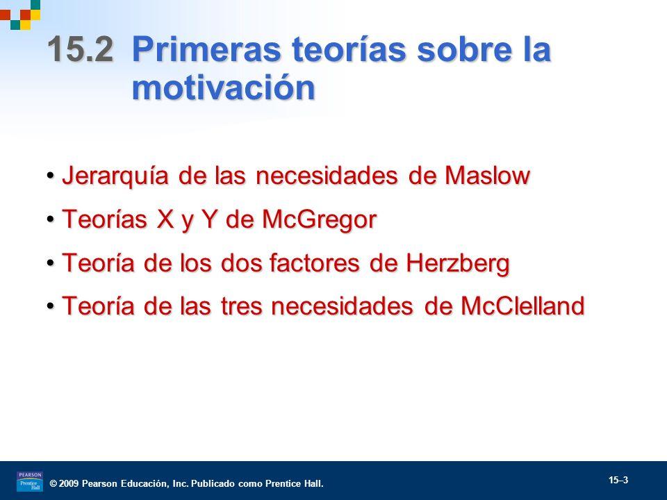 © 2009 Pearson Educación, Inc. Publicado como Prentice Hall. 15–3 15.2 Primeras teorías sobre la motivación Jerarquía de las necesidades de MaslowJera