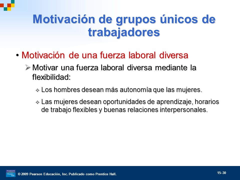 © 2009 Pearson Educación, Inc. Publicado como Prentice Hall. 15–30 Motivación de una fuerza laboral diversaMotivación de una fuerza laboral diversa Mo