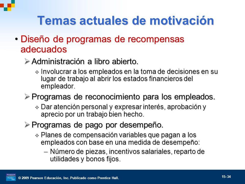 © 2009 Pearson Educación, Inc. Publicado como Prentice Hall. 15–34 Diseño de programas de recompensas adecuadosDiseño de programas de recompensas adec