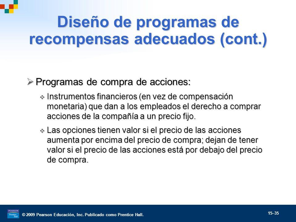 © 2009 Pearson Educación, Inc. Publicado como Prentice Hall. 15–35 Diseño de programas de recompensas adecuados (cont.) Programas de compra de accione