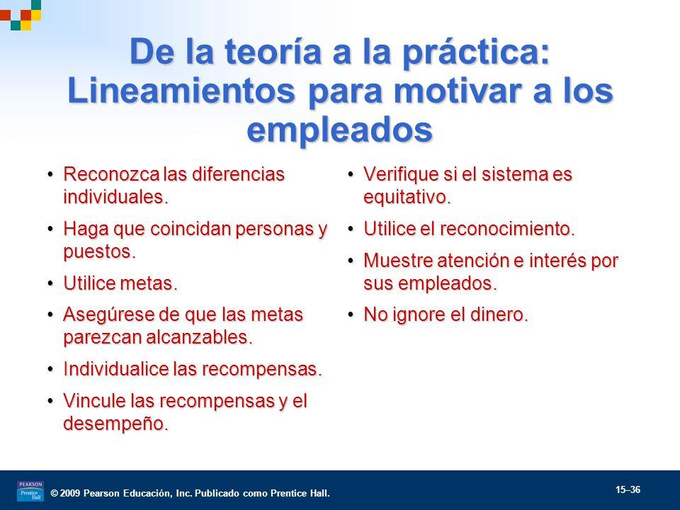 © 2009 Pearson Educación, Inc. Publicado como Prentice Hall. 15–36 De la teoría a la práctica: Lineamientos para motivar a los empleados Reconozca las
