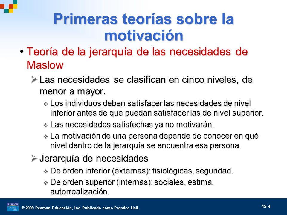 © 2009 Pearson Educación, Inc. Publicado como Prentice Hall. 15–4 Primeras teorías sobre la motivación Teoría de la jerarquía de las necesidades de Ma