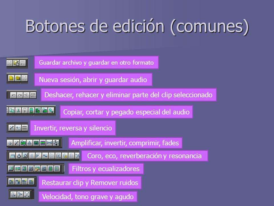 Botones de edición (comunes) Guardar archivo y guardar en otro formato Nueva sesión, abrir y guardar audio Deshacer, rehacer y eliminar parte del clip