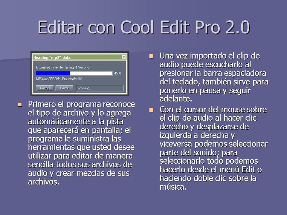 Editar con Cool Edit Pro 2.0 Primero el programa reconoce el tipo de archivo y lo agrega automáticamente a la pista que aparecerá en pantalla; el prog