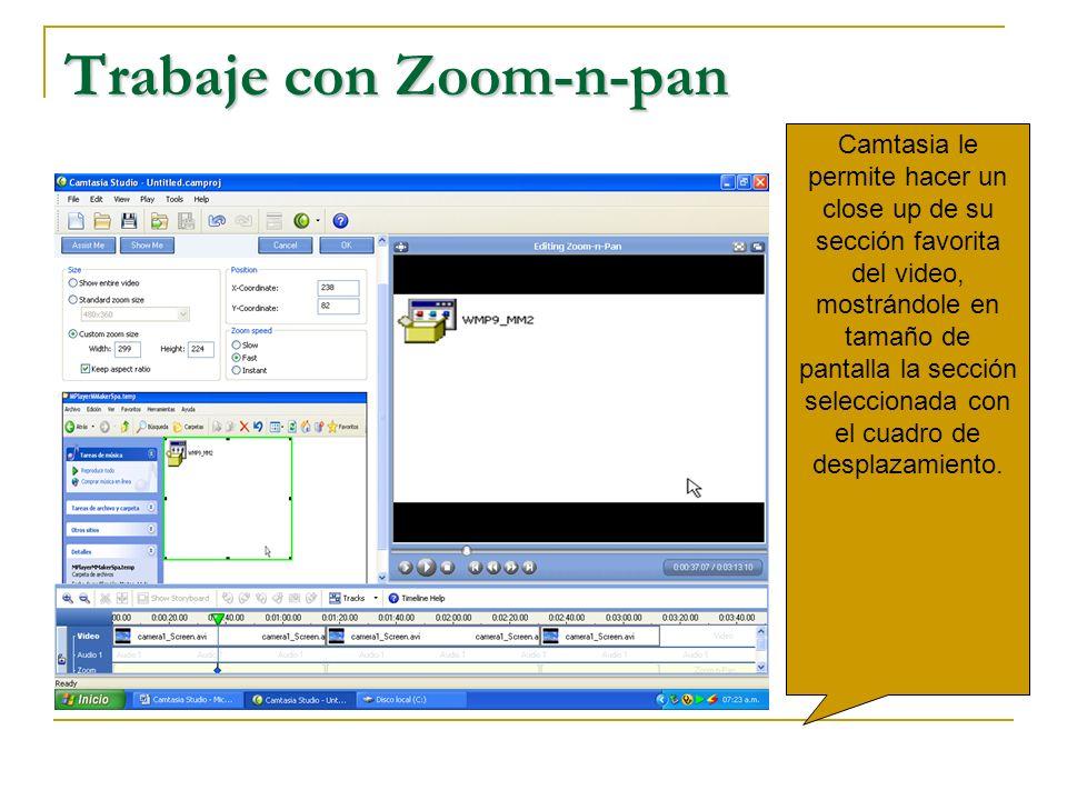 Trabaje con Zoom-n-pan Camtasia le permite hacer un close up de su sección favorita del video, mostrándole en tamaño de pantalla la sección selecciona