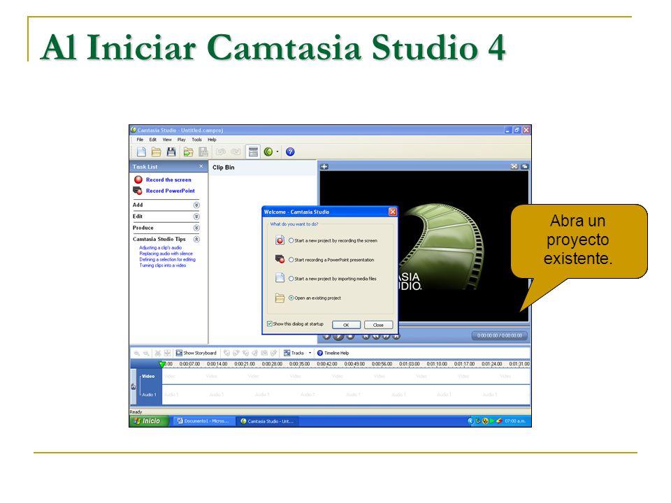 Inicio de Camtasia Studio 4 Inicie la grabación de un Power Point Grabar la pantalla durante el trabajo. Importe un archivo media de un disco. Abra un
