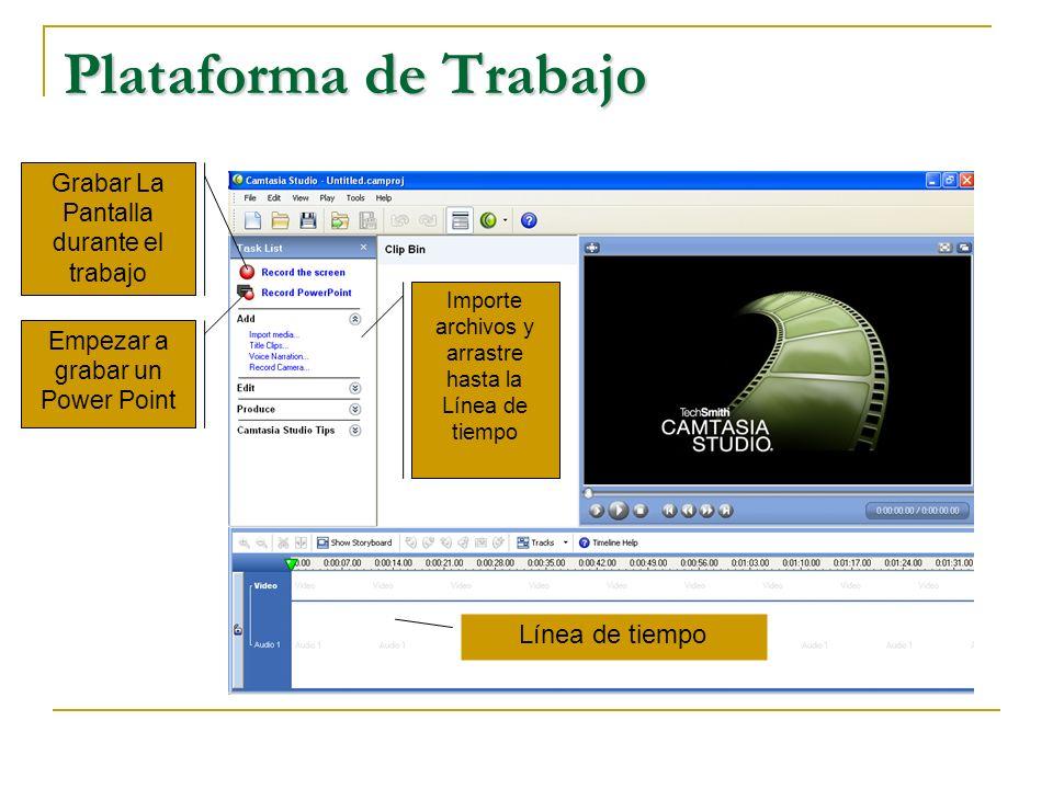 Plataforma de Trabajo Empezar a grabar un Power Point Grabar La Pantalla durante el trabajo Importe archivos y arrastre hasta la Línea de tiempo Línea de tiempo