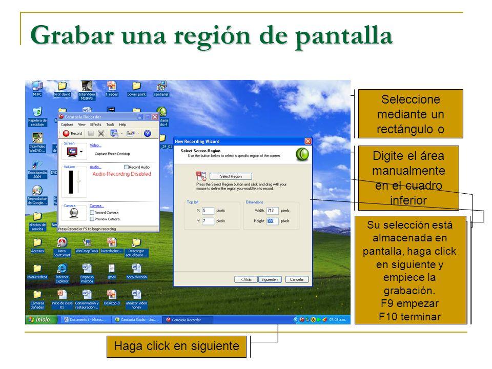 Grabar una región de pantalla Seleccione mediante un rectángulo o Digite el área manualmente en el cuadro inferior Haga click en siguiente Haga su sel