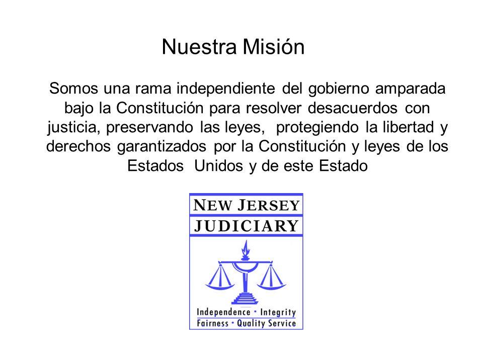 Nuestra Misión Somos una rama independiente del gobierno amparada bajo la Constitución para resolver desacuerdos con justicia, preservando las leyes, protegiendo la libertad y derechos garantizados por la Constitución y leyes de los Estados Unidos y de este Estado