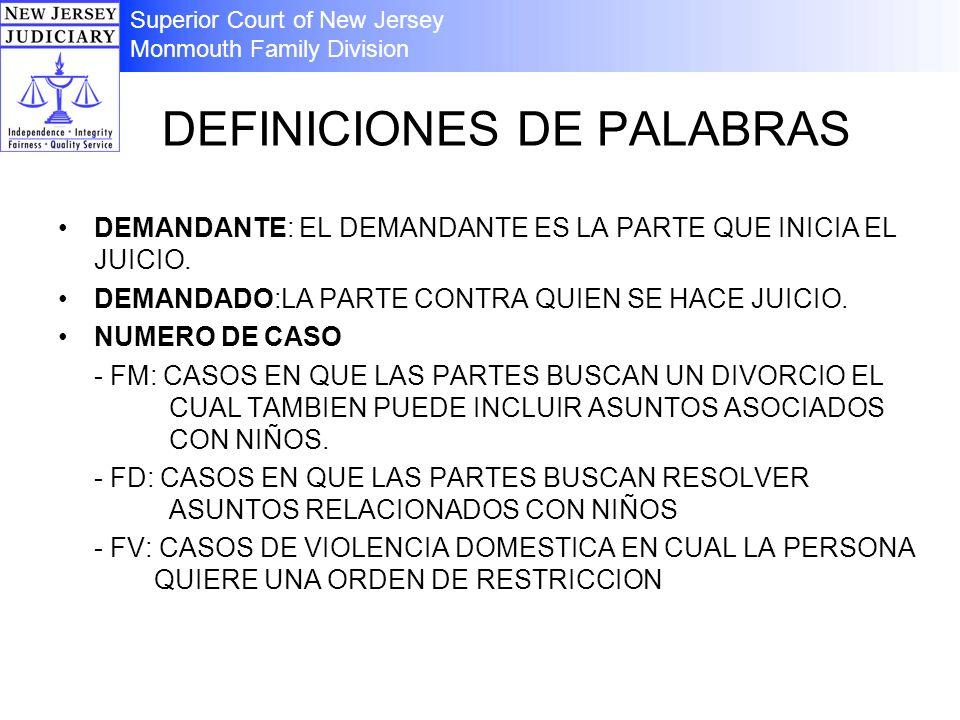 DEFINICIONES DE PALABRAS DEMANDANTE: EL DEMANDANTE ES LA PARTE QUE INICIA EL JUICIO. DEMANDADO:LA PARTE CONTRA QUIEN SE HACE JUICIO. NUMERO DE CASO -