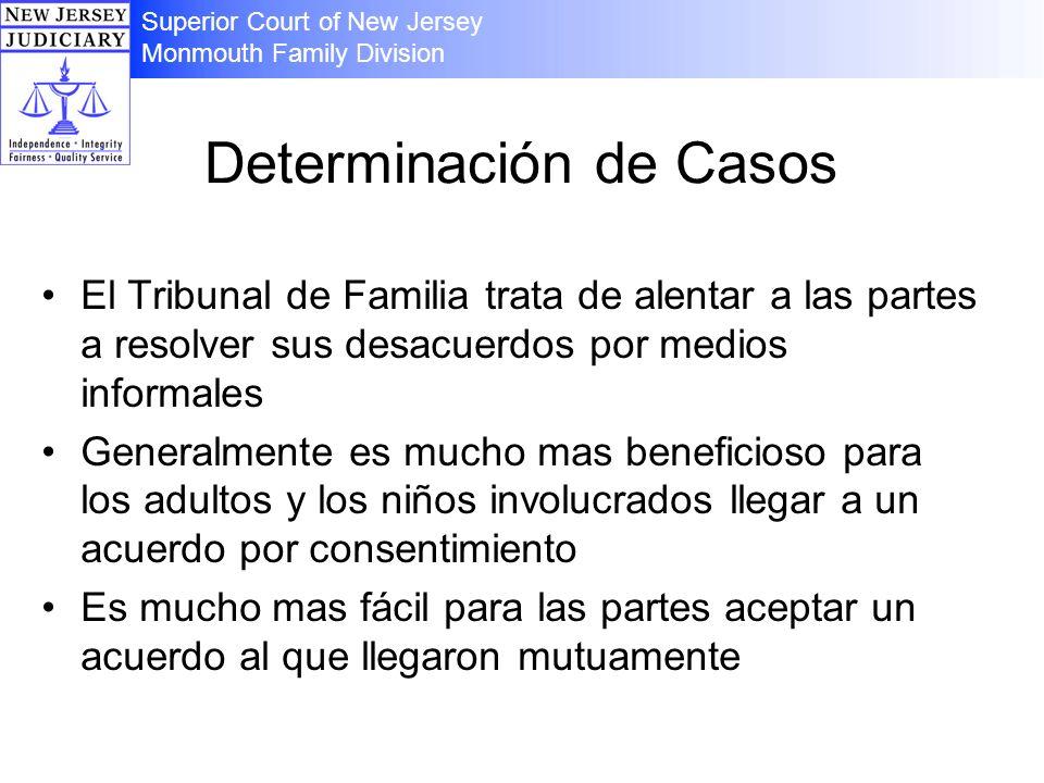 Determinación de Casos El Tribunal de Familia trata de alentar a las partes a resolver sus desacuerdos por medios informales Generalmente es mucho mas