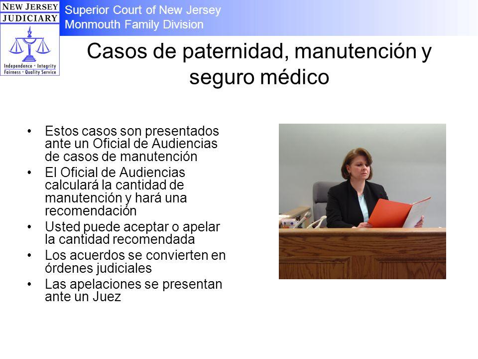 Casos de paternidad, manutención y seguro médico Estos casos son presentados ante un Oficial de Audiencias de casos de manutención El Oficial de Audie
