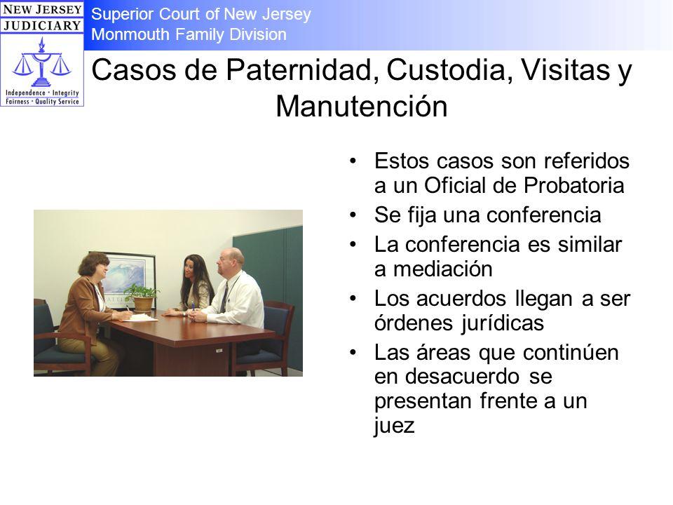 Casos de Paternidad, Custodia, Visitas y Manutención Estos casos son referidos a un Oficial de Probatoria Se fija una conferencia La conferencia es si