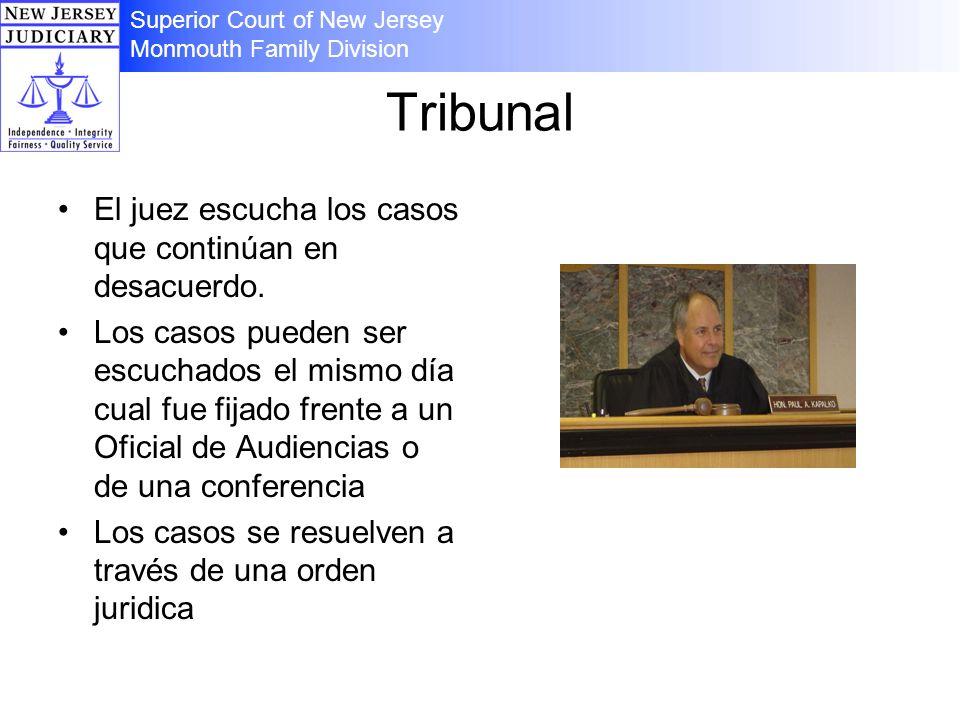 Tribunal El juez escucha los casos que continúan en desacuerdo. Los casos pueden ser escuchados el mismo día cual fue fijado frente a un Oficial de Au