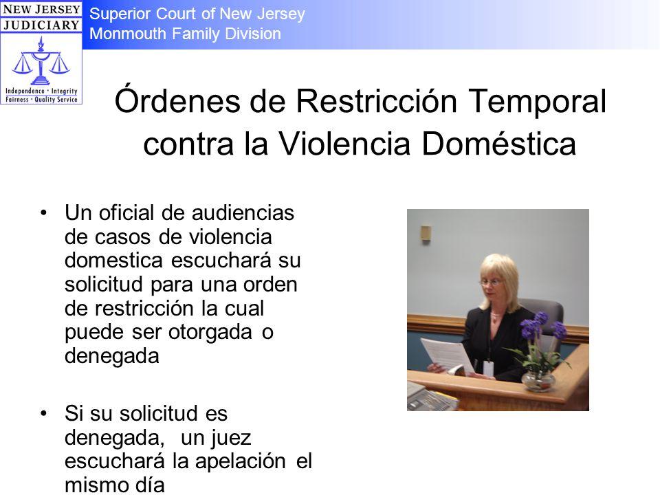 Órdenes de Restricción Temporal contra la Violencia Doméstica Un oficial de audiencias de casos de violencia domestica escuchará su solicitud para una