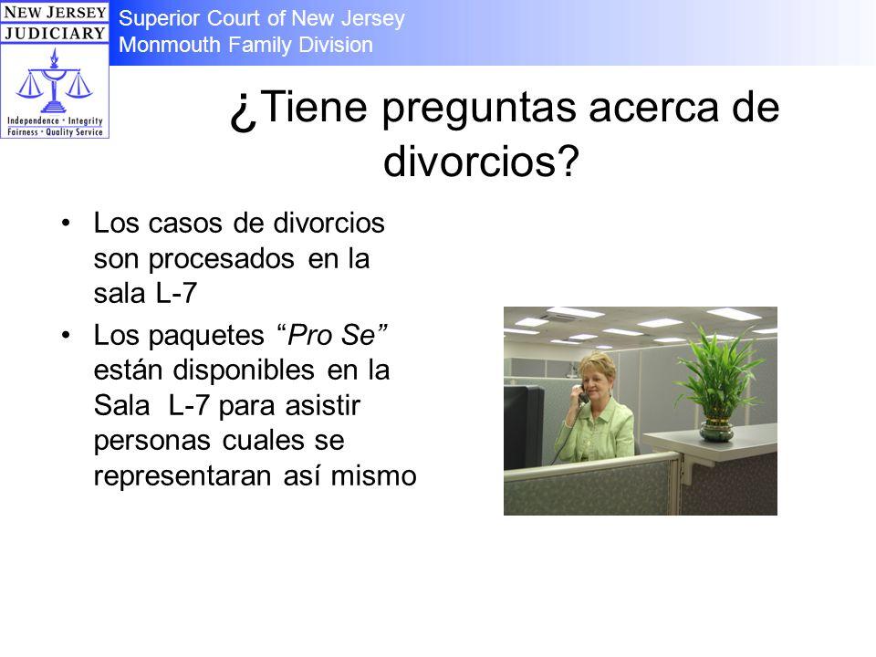 ¿ Tiene preguntas acerca de divorcios? Los casos de divorcios son procesados en la sala L-7 Los paquetes Pro Se están disponibles en la Sala L-7 para