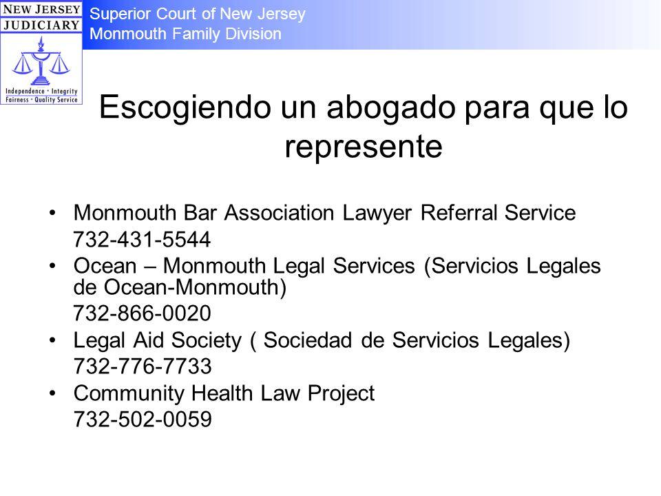 Escogiendo un abogado para que lo represente Monmouth Bar Association Lawyer Referral Service 732-431-5544 Ocean – Monmouth Legal Services (Servicios