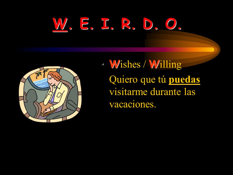 You bet! W. E. I. R. D. O. Heres an acronym to help you organize the major uses of the subjunctive: W. E. I. R. D. O.