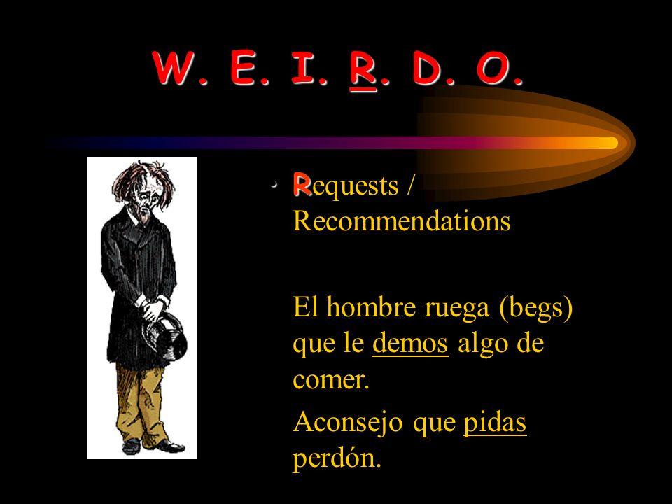 W. E. I. R. D. O. II mpersonal expressions Es ridículo que Gloria sea la presidenta del club de alemán – ella recibió una D- en su clase el semestre p