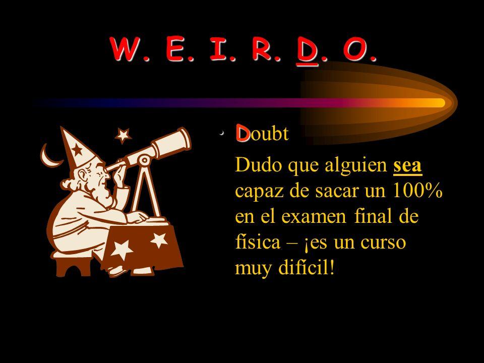 W. E. I. R. D. O. R equests / Recommendations El hombre ruega (begs) que le demos algo de comer. Aconsejo que pidas perdón.