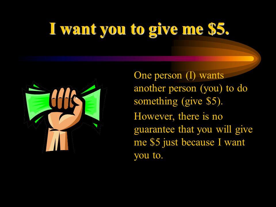Now lets put this all together.Quiero que me des $5.
