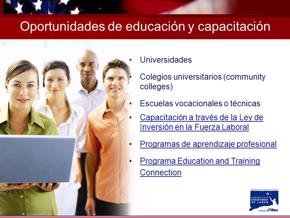 Oportunidades de educación y capacitación Universidades Colegios universitarios (community colleges) Escuelas vocacionales o técnicas Capacitación a través de la Ley de Inversión en la Fuerza LaboralCapacitación a través de la Ley de Inversión en la Fuerza Laboral Programas de aprendizaje profesional Programa Education and Training ConnectionPrograma Education and Training Connection