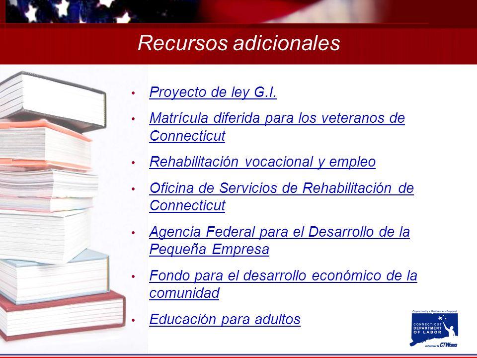 Recursos adicionales Proyecto de ley G.I.