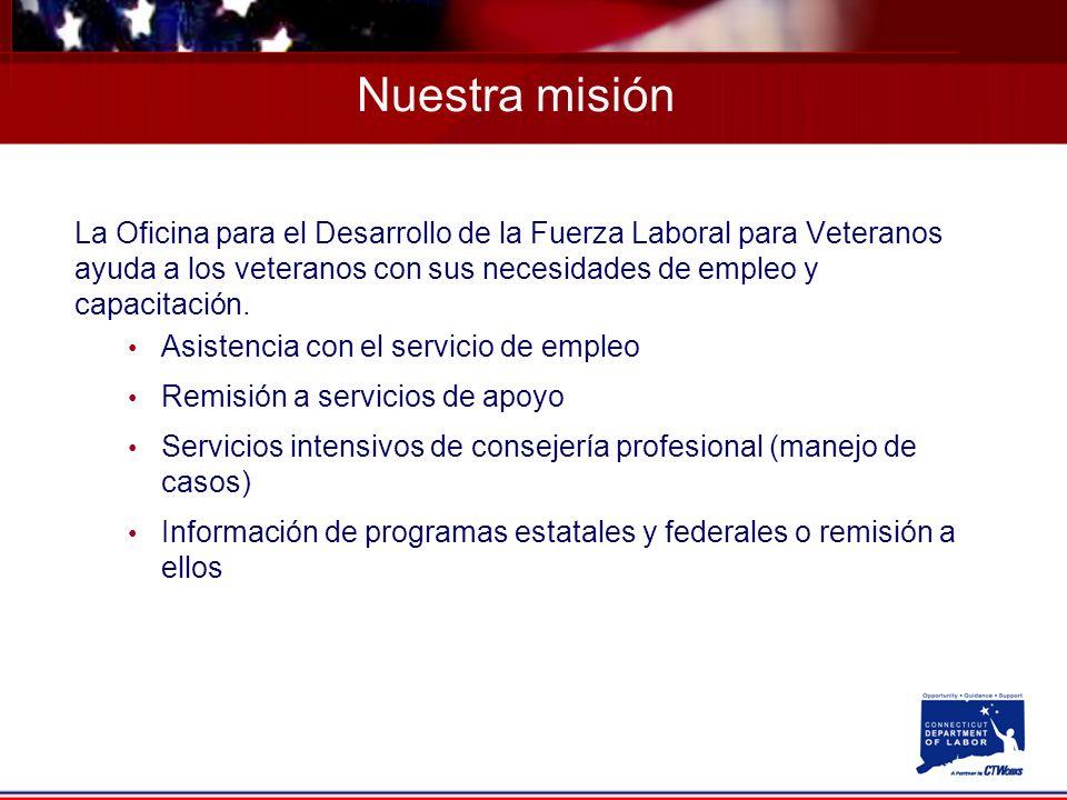 La Oficina para el Desarrollo de la Fuerza Laboral para Veteranos ayuda a los veteranos con sus necesidades de empleo y capacitación.