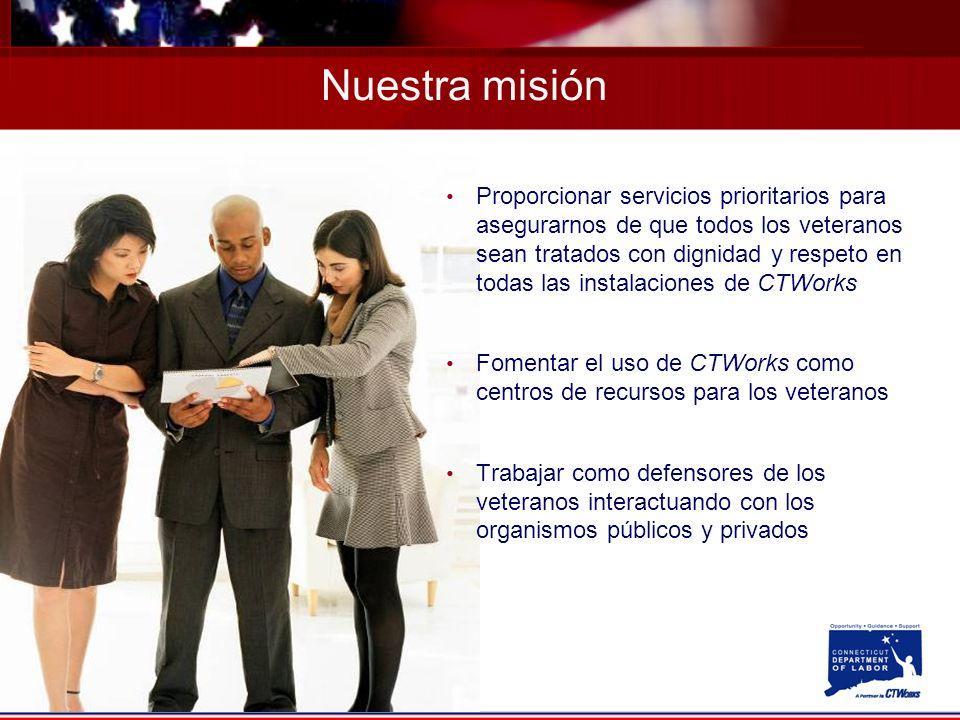 Proporcionar servicios prioritarios para asegurarnos de que todos los veteranos sean tratados con dignidad y respeto en todas las instalaciones de CTWorks Fomentar el uso de CTWorks como centros de recursos para los veteranos Trabajar como defensores de los veteranos interactuando con los organismos públicos y privados