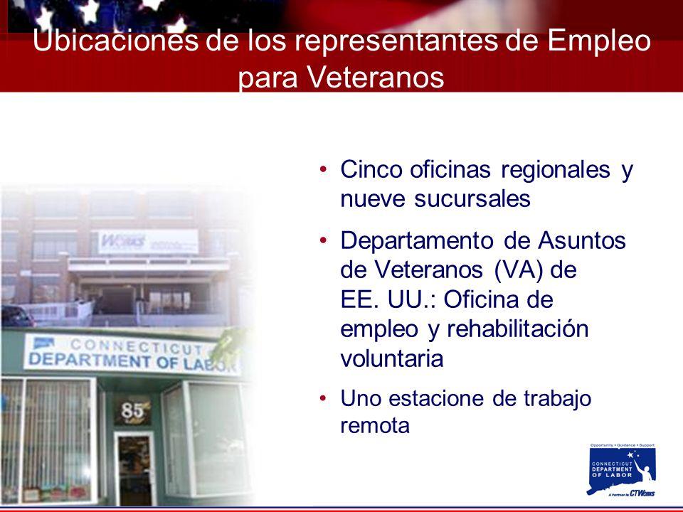 Cinco oficinas regionales y nueve sucursales Departamento de Asuntos de Veteranos (VA) de EE.