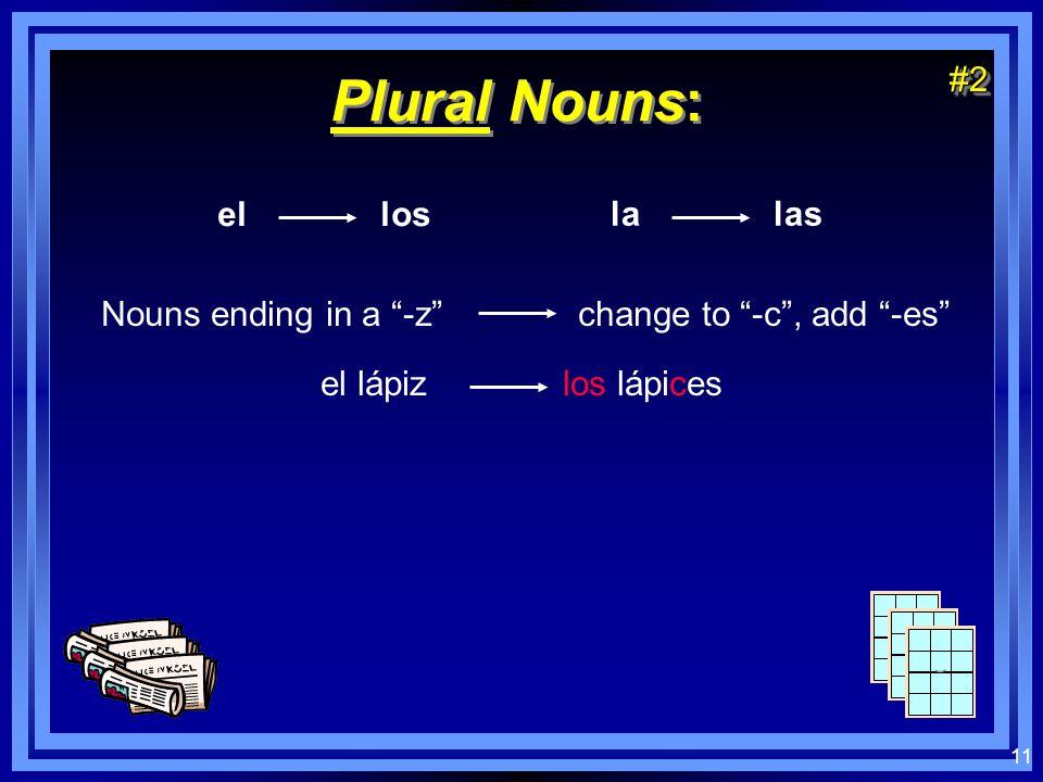 10 Plural Nouns: el los la las Nouns ending in a vowel add -s el chico los chicos la silla las sillas Nouns ending in a consonant add -es el papel los papeles el reloj los relojes#1#1