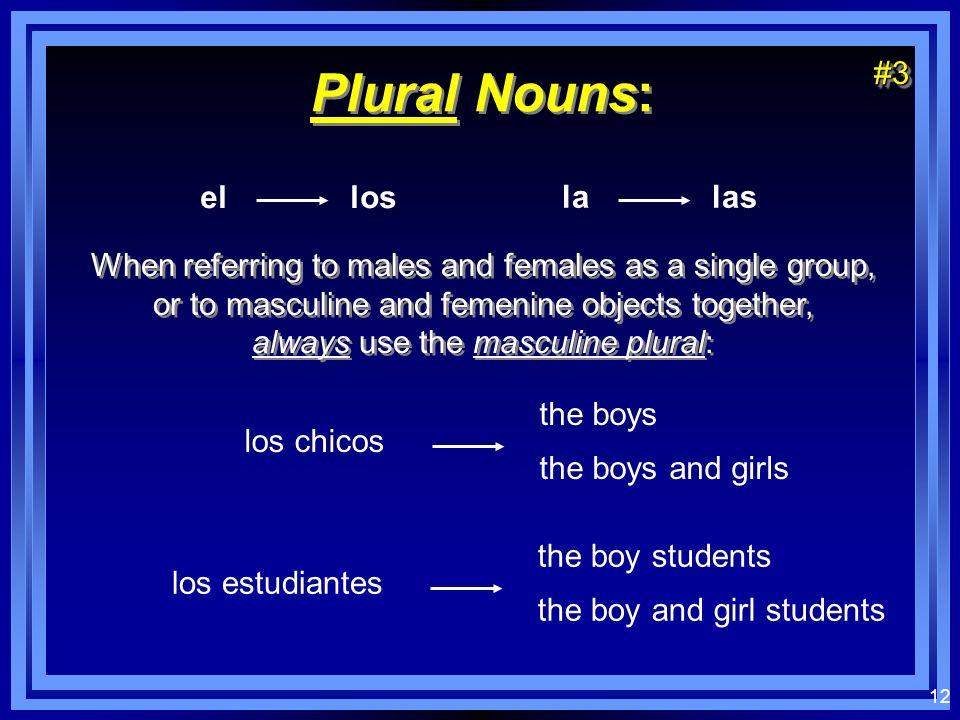 11 Plural Nouns: el los la las Nouns ending in a -z change to -c, add -es el lápiz los lápices#2#2