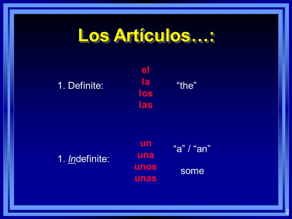 1 Definite and Indefinite Articles Articles Definite and Indefinite Articles Articles