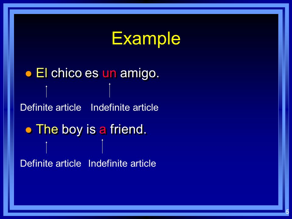 4 Indefinite Articles l Used with nouns to indicate nonspecific people, places, or things