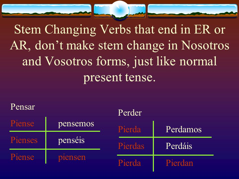 Stem Changing Verbs that end in ER or AR, dont make stem change in Nosotros and Vosotros forms, just like normal present tense.