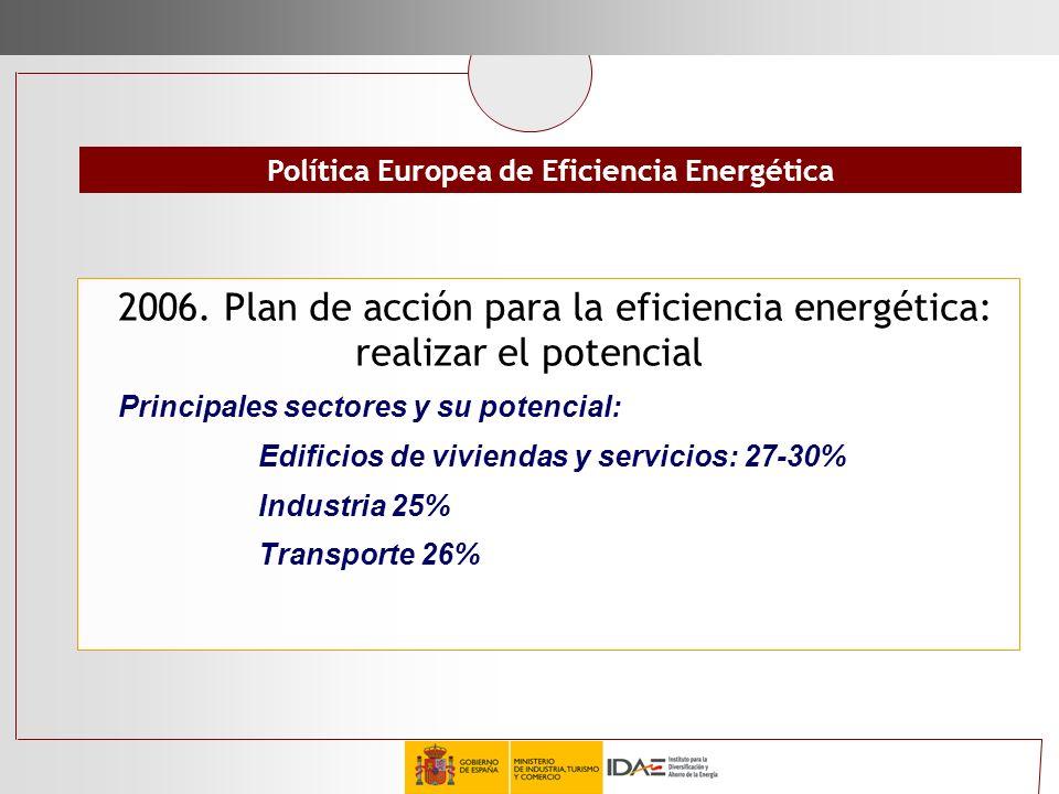 2006. Plan de acción para la eficiencia energética: realizar el potencial Principales sectores y su potencial: Edificios de viviendas y servicios: 27-