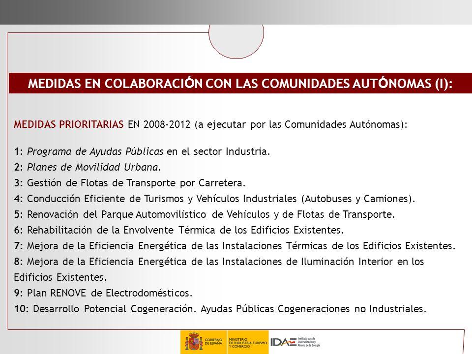 MEDIDAS PRIORITARIAS EN 2008-2012 (a ejecutar por las Comunidades Autónomas): 1: Programa de Ayudas Públicas en el sector Industria. 2: Planes de Movi
