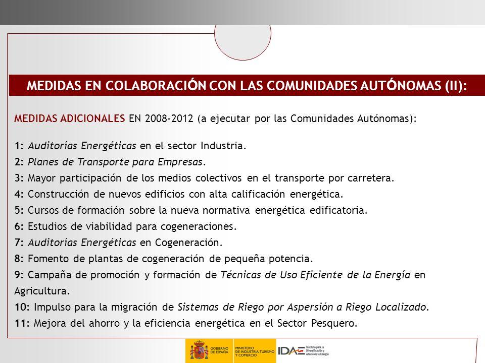 MEDIDAS ADICIONALES EN 2008-2012 (a ejecutar por las Comunidades Autónomas): 1: Auditorías Energéticas en el sector Industria. 2: Planes de Transporte