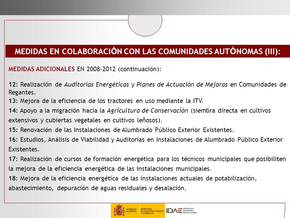 MEDIDAS ADICIONALES EN 2008-2012 (continuación): 12: Realización de Auditorías Energéticas y Planes de Actuación de Mejoras en Comunidades de Regantes