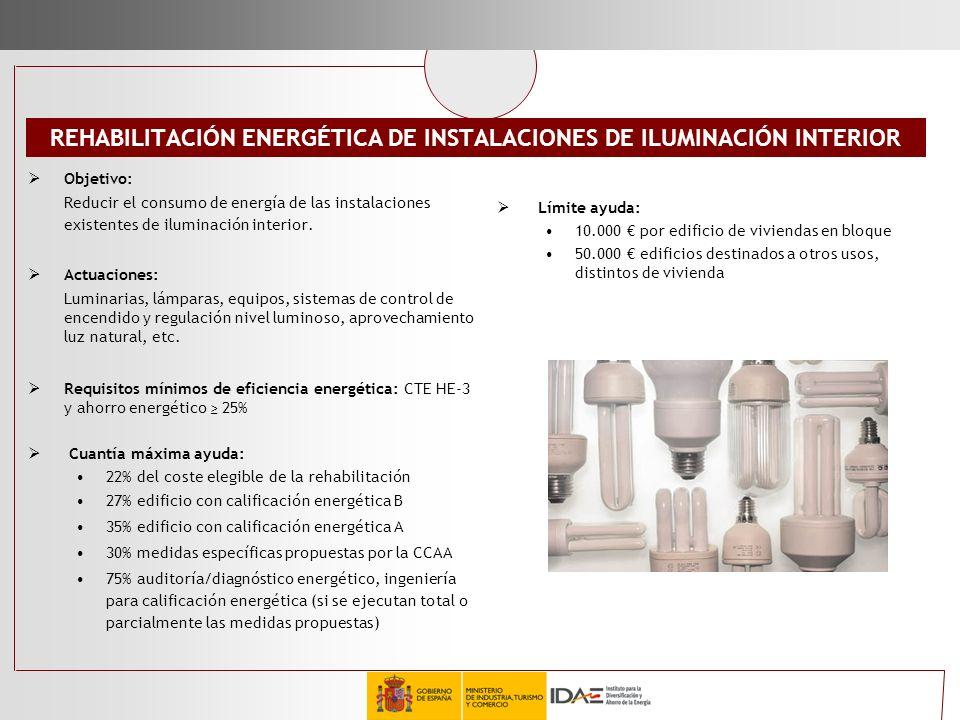 REHABILITACIÓN ENERGÉTICA DE INSTALACIONES DE ILUMINACIÓN INTERIOR Objetivo: Reducir el consumo de energía de las instalaciones existentes de iluminac