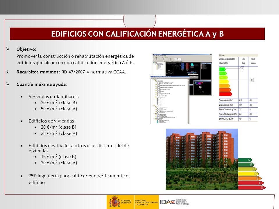 EDIFICIOS CON CALIFICACIÓN ENERGÉTICA A y B Objetivo: Promover la construcción o rehabilitación energética de edificios que alcancen una calificación