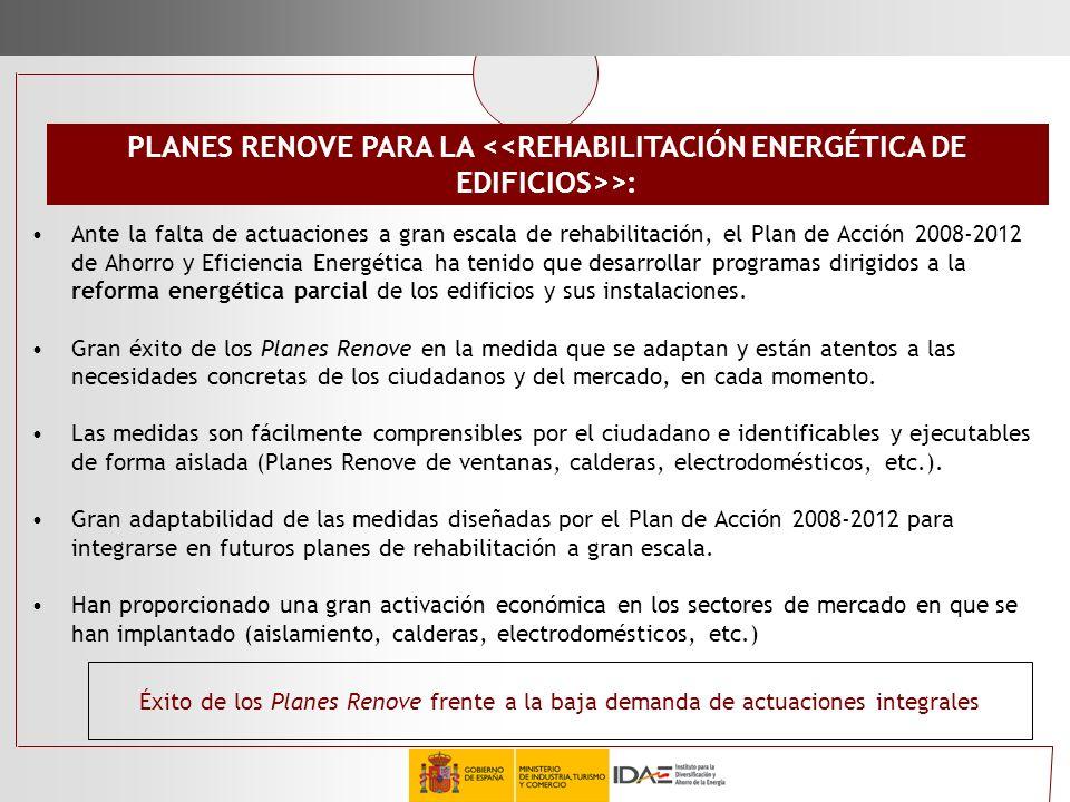 Ante la falta de actuaciones a gran escala de rehabilitación, el Plan de Acción 2008-2012 de Ahorro y Eficiencia Energética ha tenido que desarrollar