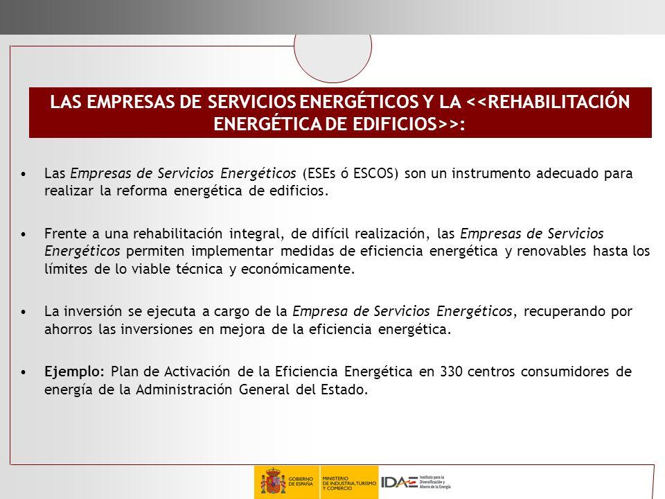 Las Empresas de Servicios Energéticos (ESEs ó ESCOS) son un instrumento adecuado para realizar la reforma energética de edificios. Frente a una rehabi