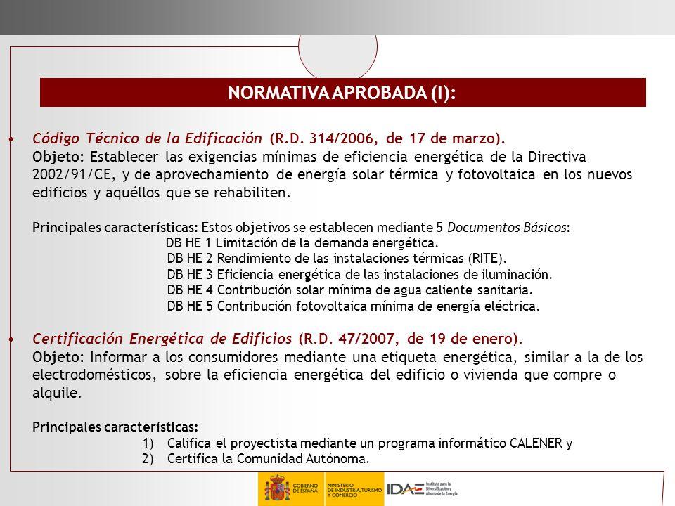 Código Técnico de la Edificación (R.D. 314/2006, de 17 de marzo). Objeto: Establecer las exigencias mínimas de eficiencia energética de la Directiva 2