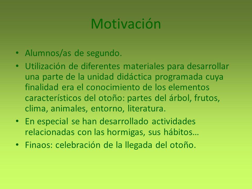 Motivación Alumnos/as de segundo. Utilización de diferentes materiales para desarrollar una parte de la unidad didáctica programada cuya finalidad era