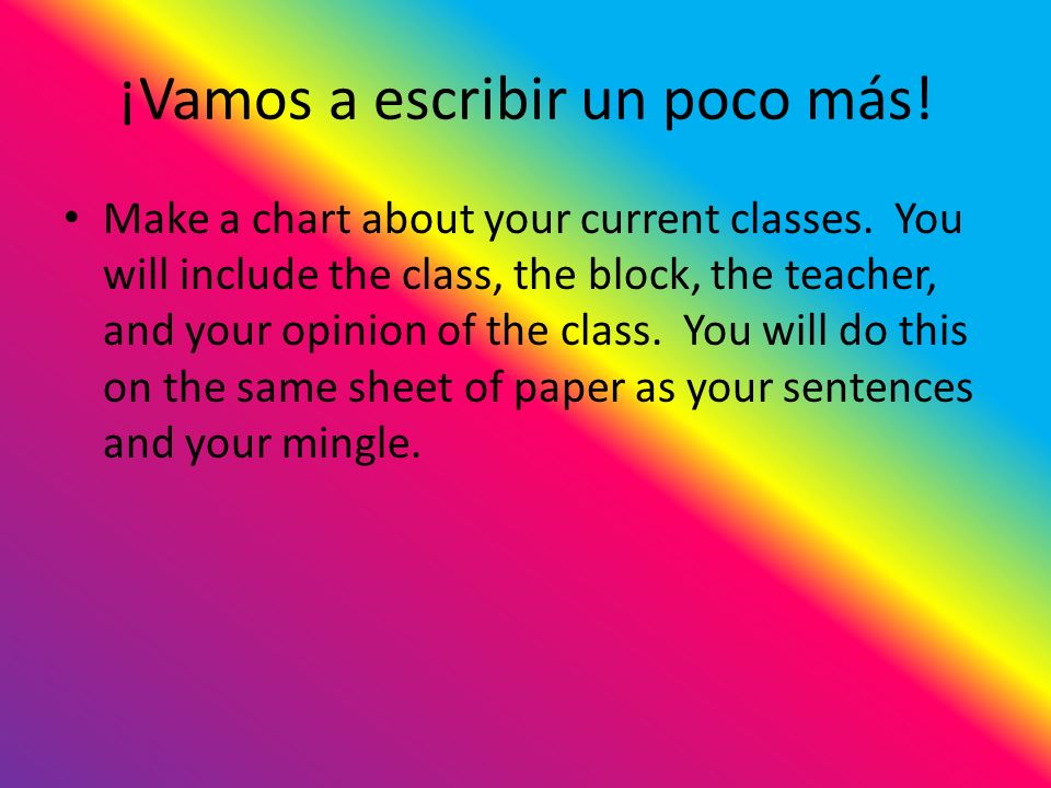 ¡Vamos a escribir un poco más. Make a chart about your current classes.