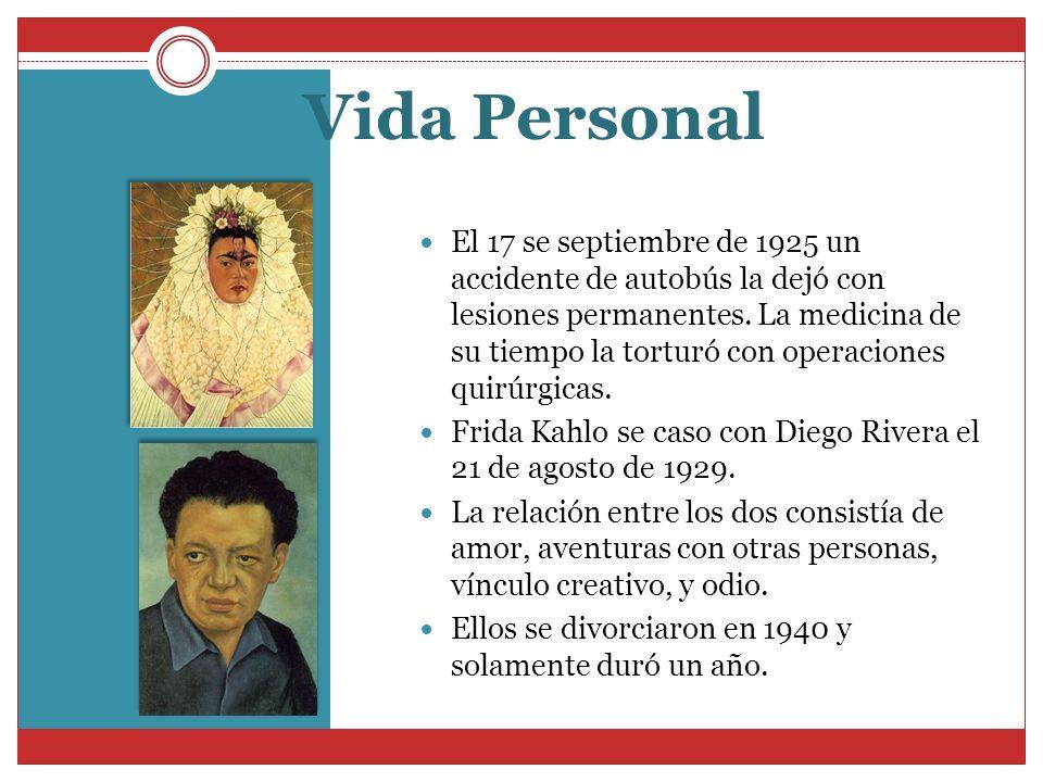 Vida Personal El 17 se septiembre de 1925 un accidente de autobús la dejó con lesiones permanentes. La medicina de su tiempo la torturó con operacione