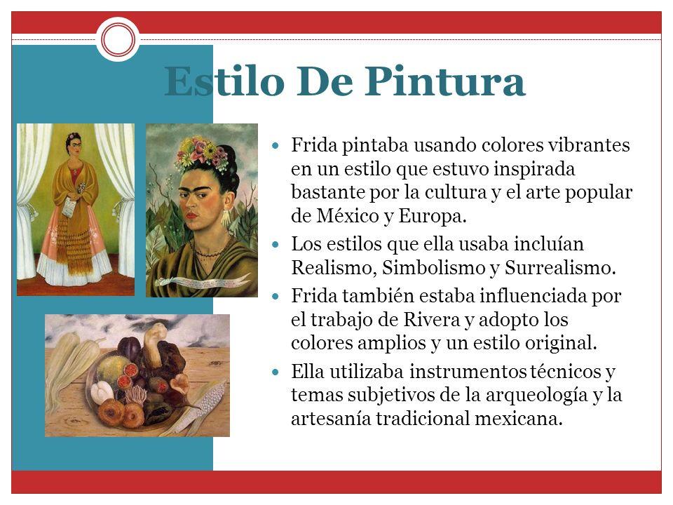 Estilo De Pintura Frida pintaba usando colores vibrantes en un estilo que estuvo inspirada bastante por la cultura y el arte popular de México y Europ