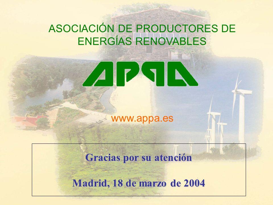 Gracias por su atención Madrid, 18 de marzo de 2004 ASOCIACIÓN DE PRODUCTORES DE ENERGÍAS RENOVABLES www.appa.es