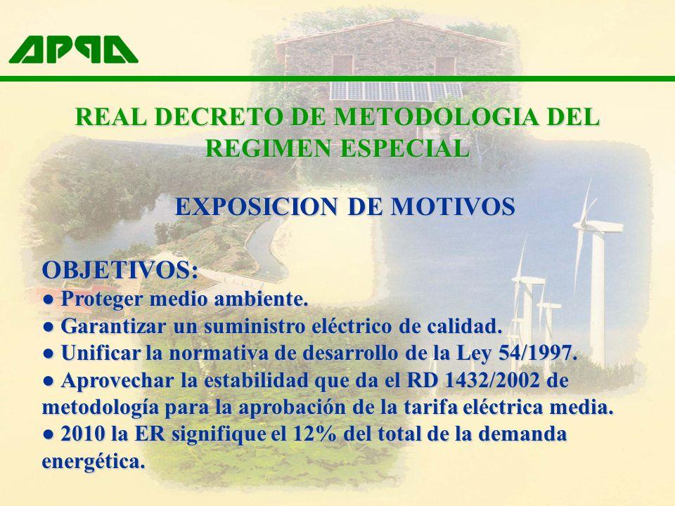 REAL DECRETO DE METODOLOGIA DEL REGIMEN ESPECIAL EXPOSICION DE MOTIVOS OBJETIVOS: Proteger medio ambiente. Proteger medio ambiente. Garantizar un sumi